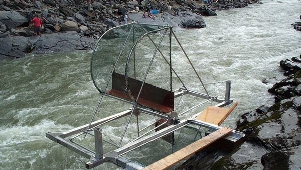 Photo Caption 2: A fish wheel similar to this one, patented by the Gitxsan Watershed Authorities, will be tested on the Chilcotin River this season. Photo: Charlie Muldon