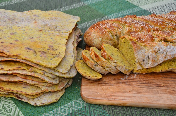I divided this recipe in half to make 14 flatbreads and two loaves. I brushed the loaves with egg yolk and sprinkled them with sesame seeds before baking at 450 F for 25 minutes. Photo: Pat Teti