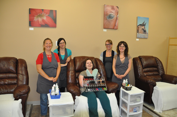Tracy Dale, Mikaela Gainer, Jo-Ann Lang, Danielle Barrette, and Tanya Seland from Adorn and Beauty Naturally in Williams Lake are committed to providing friendly, professional customer service and high quality products that are kind to the environment and help you look and feel your best. Photo: LeRae Haynes