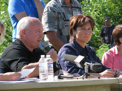 Minister of Energy and Mines Bill Bennett and Premier Christy Clark on August 7, 2014 respond to questions from the crowd gathered at the public information meeting in Likely, BC. Photo: Lisa Bland