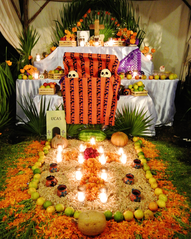 Traditional Mexican 'Day of the Dead' altar for family member, Playa del Carmen, Mexico. Photo: Laura Winfree