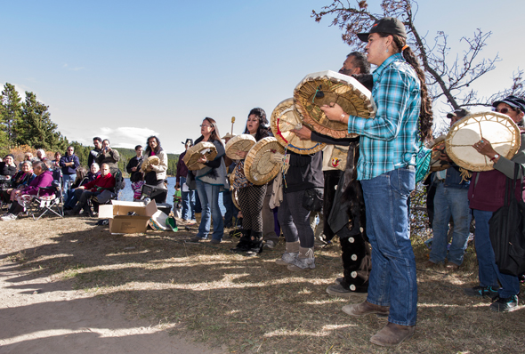 Tsihlqot'in youth and elders alike drummed and sang in front of an audience of several hundred people on the shores of Teztan Biny (Fish Lake) in the newly declared Dasiqox Tribal Park. Photo: Steve Monk www.stevemonk.ca