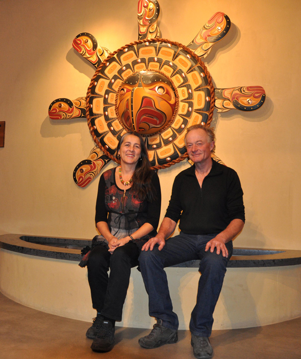 Jasmin and Felix Schellenberg, pictured above with a sun eagle mask by First Nations artist Junior Henderson, welcome guests to the Kinikinik Restaurant and store in Redstone. Photo: LeRae Haynes