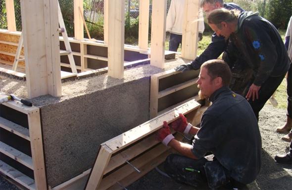 """Hempcrete"" wall construction building course. Photo: SteveAllin (International Hemp Building Association)"