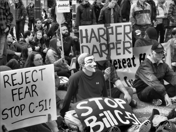 Protest against C-51 in Vancouver, BC.  Photo: Sally T. Buck