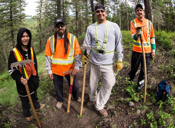 First Nations Trail Crew - Williams Lake Indian Band: Sam, Billy-Joe, Ben, Floyd. Photo: John Wellburn