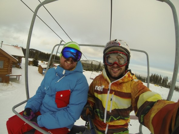 Morgan Day and Oliver Berger out doing some run quality assessment at Mt. Timothy.  Photo: Oliver Berger