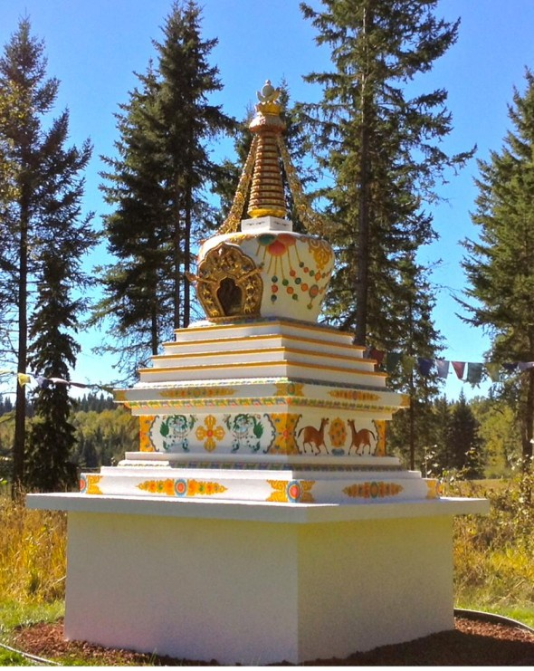 The Stupa for World Peace and Environmental Harmony at Spokin Lake.