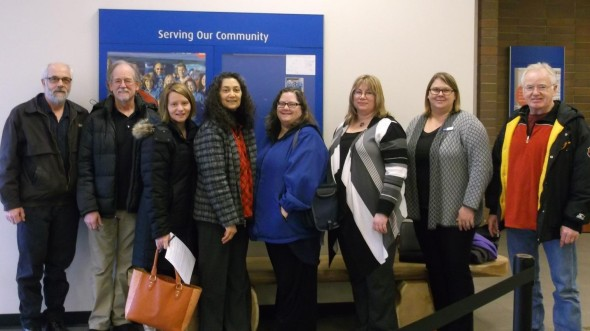 Members of St. Peter's Anglican Church and the Williams Lake Refugee Sponsorship Group opening an account at the Bank of Montreal for donations to sponsor a refugee to the Williams Lake area. Photo submitted by Williams Lake Refugee Sponsorship Group