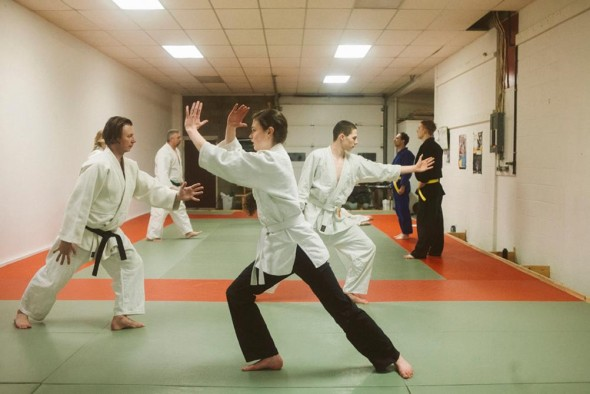 Solo Kata (form) practice - Eden and Aldon Barton (students). Photo: Casey Bennett