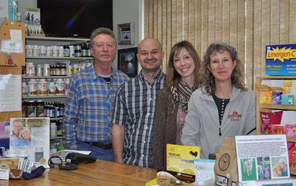 Bruce Mattson, Adam Richardson, Tamara Richardson, and Doris Ford, part of the staff at Sta-Well Health Foods, bring knowledgeable friendly customer service to local shoppers and visitors of all ages. Photo: LeRae Haynes