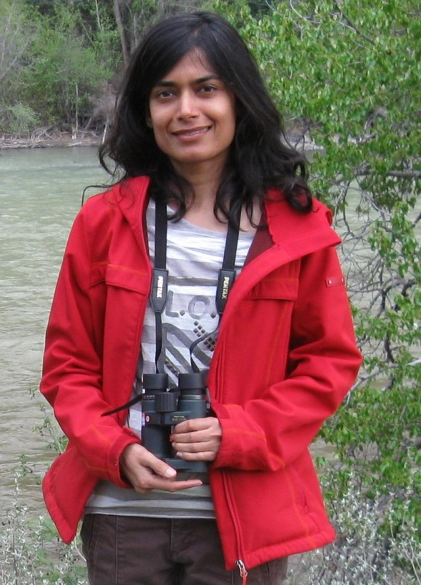 Lubna Khan enjoys birding with Williams Lake Field Naturalists Club.  Photo: Betty Donahue