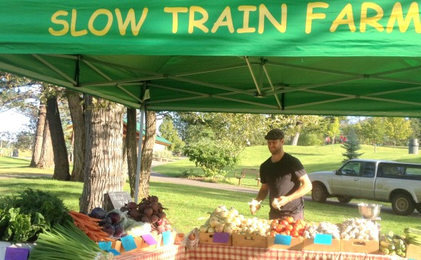 Slow Train Farm produce market stand. Photo: Stephanie Bird