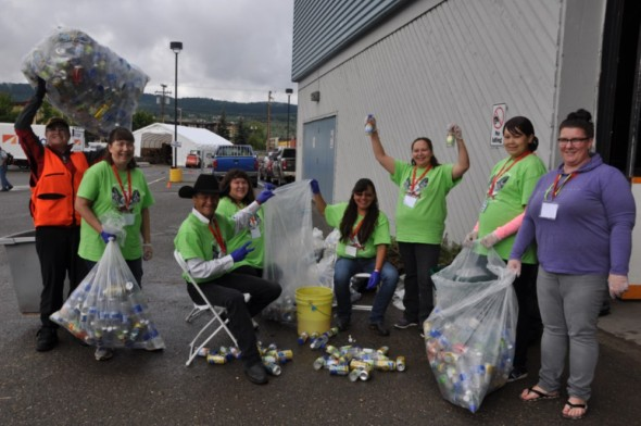 Mary Forbes from the Cariboo Chilcotin Conservation Society's Waste Wise program and her merry band of volunteers set up recycling stations, sorted all garbage, and provided information and training at the 40th annual BC Elders Gathering in Williams Lake. Photo: LeRae Haynes
