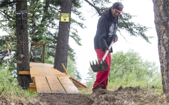 Xats'ull First Nations Trail Crew, Kyle (Yr. 2 Soda Creek Trail Crew). Photo: John Wellburn