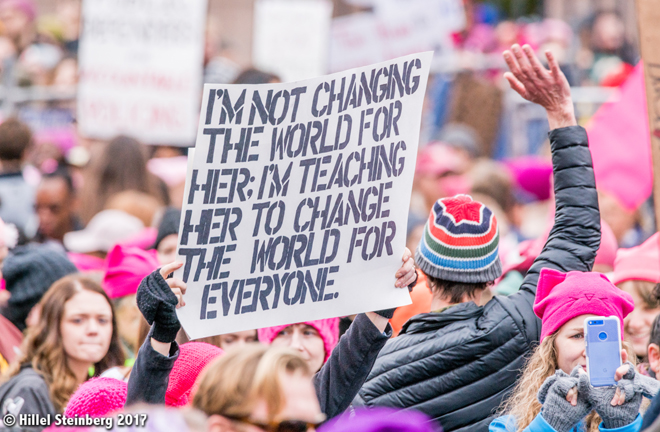 On January 21, 2017, thousands of women and men marched to demonstrate the unity, beauty, and diversity needed to address and conquer issues affecting women around the world. Above and upper right photos: Hillel Steinberg , www.flickr.com
