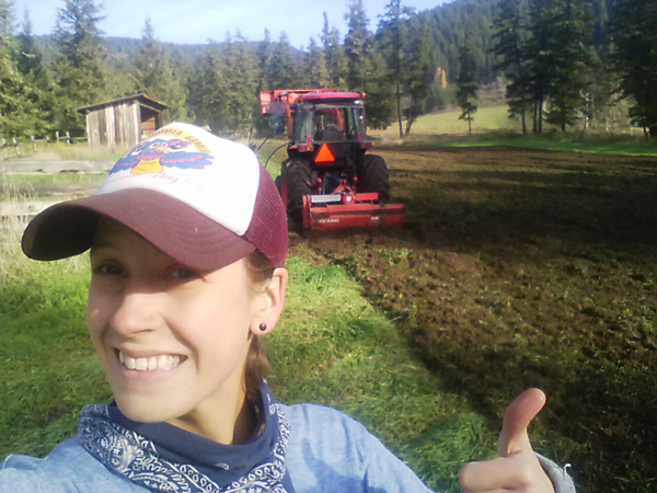 Puddle Produce Farm owner/operator, Brianna, is stoked to see the grass turn to veggies in Soda Creek, BC Photo: Brianna van de Wijngaard