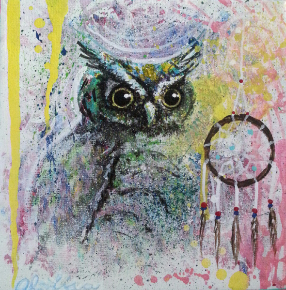 Owl Medicine. Original Acrylic. Photo submitted by: Miss White Spider Arts.