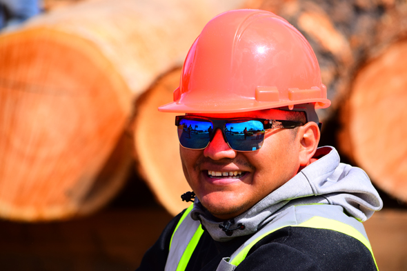Anthony Billyboy, a pleased participant in the sawmill training provided by the Yunesit'in Government.Photo: James Smith