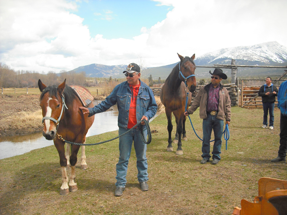 David Setah and Chief Roger William teach horsemanship during Naghtaneqed School's Culture Week in mid-May. Horse culture is a fundamental building block for youth self-esteem in the Xeni Gwet'in community. Photo: Sage Birchwater