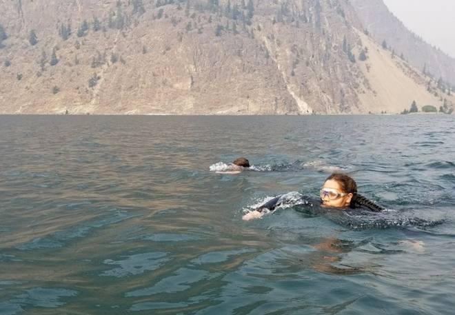 Keely Weget-Whitney practised swimming in Seton Lake leading up to her 64 km journey down the Fraser River.