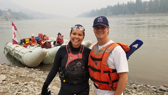 Keely Weget-Whitney and Fin Donnelly before Keely embarks on her 64 km. Fraser Canyon swim from Lillooet to the Stein River. Photo: Jeremy Williams
