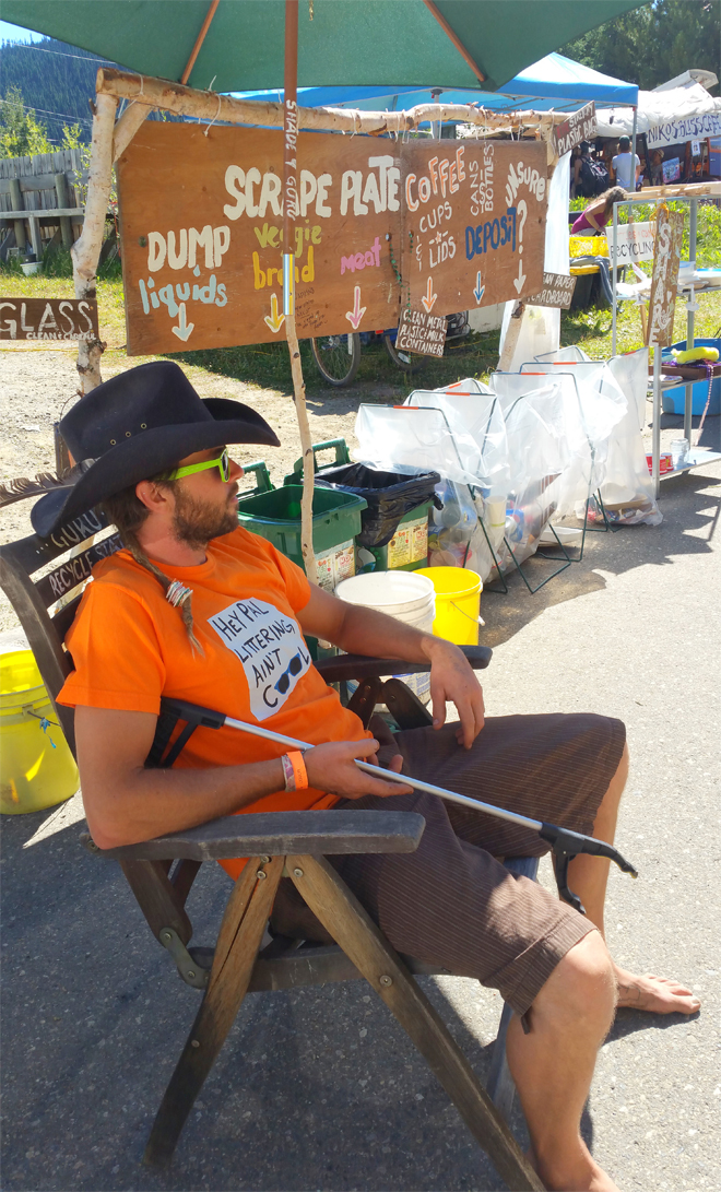 Armed with a picker, Oliver is ready to educate about waste at Arts Wells 2017. Photo: Mary Forbes